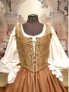Gold Renaissance Bodice Skirt Medieval Wench Gown Dress