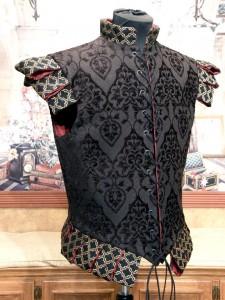 Men's Renaissance Doublet Jerkin Cavalier Pirate Courtier Nobility Vest Black