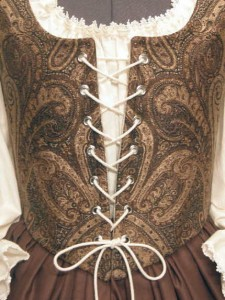 Brown & Blue Renaissance Wench Clothing Bodice Skirt