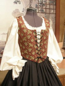 Lady Pirate Wench Corset Bodice Clothing Dress Gown Renaissance Costume