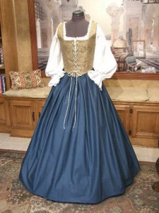 Renaissance Wench Blue Bodice Skirt Dress Gown