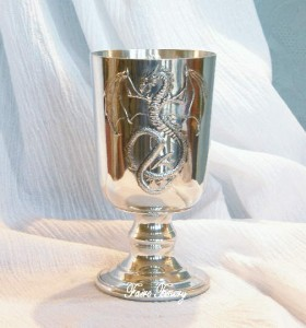 Pewter Dragon Goblet Chalice Wine Cup