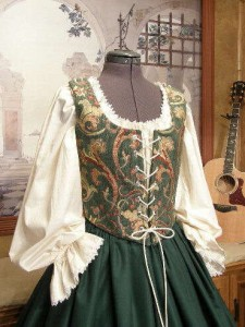 Renaissance Wench Bodice and Skirt Green