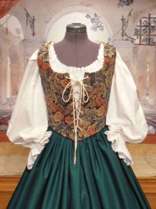 Renaissance Wench Bodice Corset Skirt Gown Dress Medieval Maiden Costume