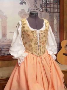 Peach Tan Renaissance Bodice Corset Skirt Wench Costume