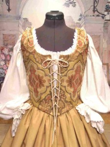Peach Tan Renaissance Bodice Corset Skirt Wench Costume