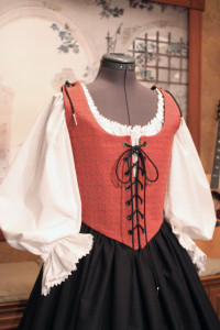 Pirate Wench Bodice Skirt Renaissance Costume Red Black Gown Dress
